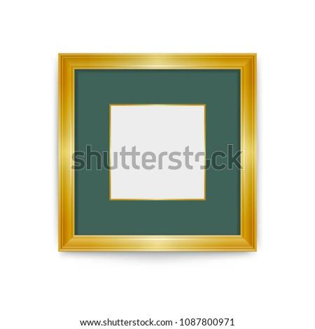 Gold Frame Green Passepartout Easily Change Stock Vector (Royalty ...