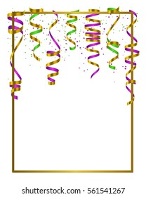 Gold frame with green, yellow and violet serpentine, ribbon and dust confetti isolated on white background. Vector illustration for Mardi Gras, banner, holiday design, web, invitation, party.