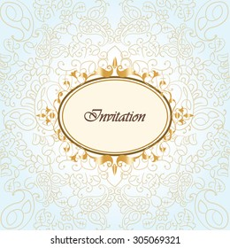 Gold frame invitation with ornaments background. Vector