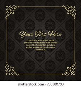 Gold frame made in vector. Unique ornamental decorative covers for greeting card, wedding invitation, save the date with space for your text. Vintage border, antique cover