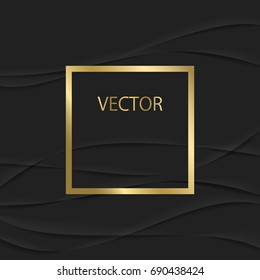 Gold Frame on a Black Background. Modern Vector Template.