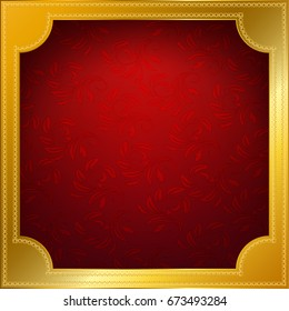gold frame with red background