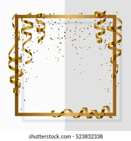 Gold frame with gold ribbon, serpentine, dust for flyer, poster, shopping, for sale sign, discount, marketing, selling, banner, web, header. Vector illustration. White background.