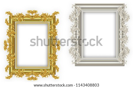43874379813 Gold frame and Silver frame. with borders floral Baroque for picture.Set of  Decorative