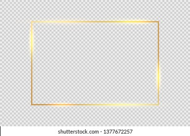 Gold frame square background. Golden frame line with light glow flare magic graphic effect design.