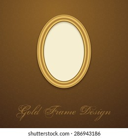 Gold Frame for text, picture, photo or your design. Vector decorative element