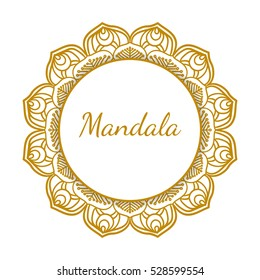 Gold frame vector isolated on white background. Round floral ornament with decorative golden foil. Design for fashion banner, tag, photo album, logo, label, greeting card or wedding invitation.