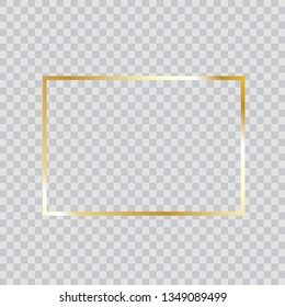 Gold frame vector. Trendy rectangle border. Gold frame isolated on transparent background. Useful for app, banner, party invitation card or happy birthday. Creative art concept, vector illustration
