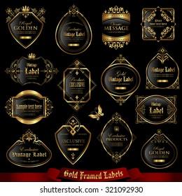 Gold framed labels