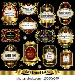 Gold framed labels set 1