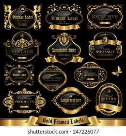 Gold framed labels set 10