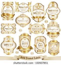 Gold framed labels set 2