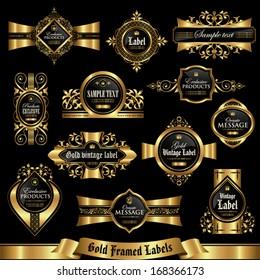 Gold framed labels set 7