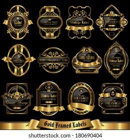Gold framed labels set 9