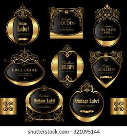 Gold framed labels - vector set