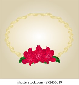 Gold frames Circle oval and rododendrony vector illustration