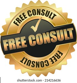 gold free consult vector eps10 sign
