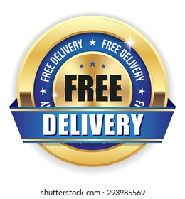 Gold free delivery badge with blue ribbon on white background