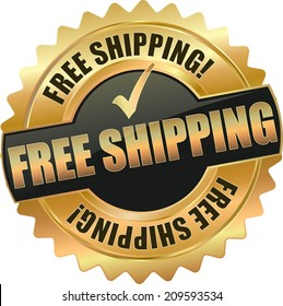 gold free shipping sign