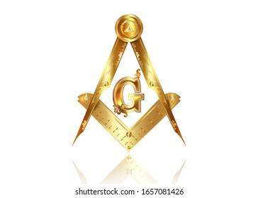 Gold freemasonry emblem - the masonic square and compass symbol. All seeing eye of god in sacred geometry triangle, masonry and illuminati symbol, golden logo design element. vector isolated on white