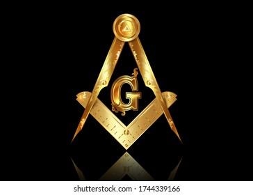 Gold freemasonry emblem - the masonic square and compass symbol. All seeing eye of god in sacred geometry triangle, masonry and illuminati symbol, golden logo design element. vector isolated on black