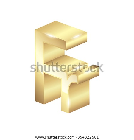 Gold French Franc Currency Symbol Stock Vector Royalty Free