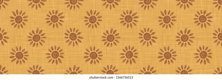 Gold French Linen Texture Border Background printed with Brown Daisy Sunflowers. Natural Dye Ecru Flax Fibre Seamless Ribbon Pattern. Close Up Weave Fabric Trim, Cloth Washi Tape. Vector EPS10
