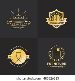 Gold furniture vintage hipster logo vector set on the black background. Part two.