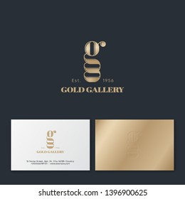 Gold Gallery logo. G letter. G monogram with double details. Logo for beauty care, jewelry, lingerie or cosmetics. Business card.