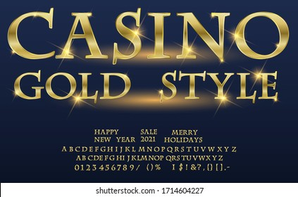 Gold game alphabet. Vector Chic Logo Game Show. Golden Alphabet Letters, Numbers and Symbols. Luxury Glossy Font.