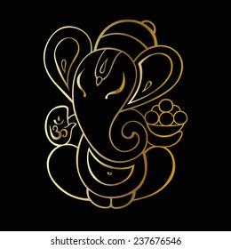 Gold Ganapati. Hindu God Ganesha. Vector hand drawn illustration.