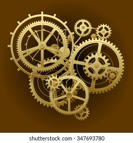 Gold gear wheels of clockwork in dark brown surface. Techno background. Vector Illustration