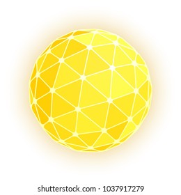 Gold geodesic sphere. Vector illustration.