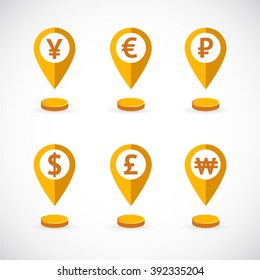 Gold geolocations signs with world currency symbols and coins.  Gold flat currency icons set.