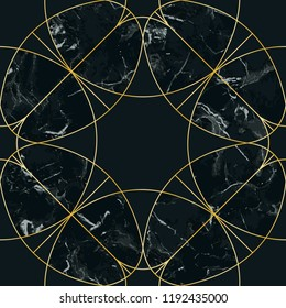 Gold geometric artdeco seamless pattern on black marble background. Luxury repeat compisition for interior decoration, textile prints, greeting wrapping.
