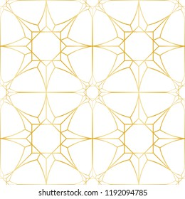 Gold geometric artdeco stars seamless pattern on white background. Luxury repeat bakcdrop for interior decoration, textile prints, greeting wrapping.