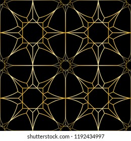 Gold geometric artdeco stars seamless pattern on black background. Luxury repeat bakcdrop for interior decoration, textile prints, greeting wrapping.