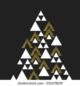 Gold geometric Christmas tree symbol. Isolated on black. Vector template for holiday designs.