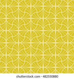 Gold geometric leaf seamless pattern