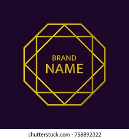 Gold geometric logo design. Islam star logotype. Elegant vector element in Eastern style. Gold octahedron with David's Star on the dark background. Luxury emblem, brand or company name. Simple text.