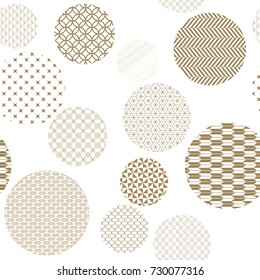 Gold geometric pattern seamless vector with Japanese background style circle shape for backdrop, template, cover page design.