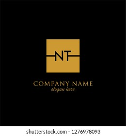 gold geometric square logo letter with black background design concept