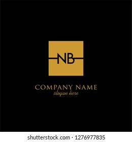 gold geometric square nb logo letter with black background design concept