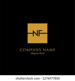 gold geometric square nf logo letter with black background design concept