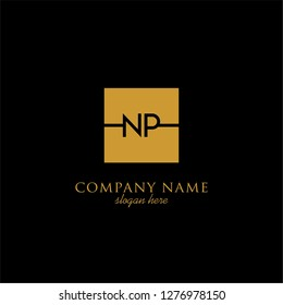 gold geometric square np logo letter with black background design concept