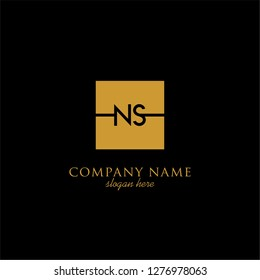 gold geometric square ns logo letter with black background design concept