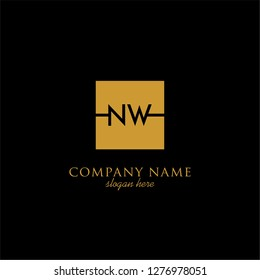 gold geometric square nw logo letter with black background design concept