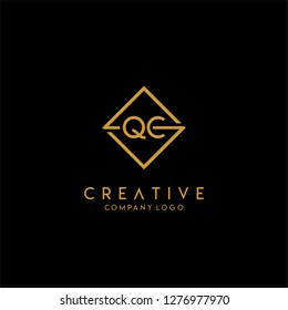 gold geometric square qc logo letter with black background design concept