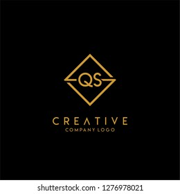 gold geometric square qs logo letter with black background design concept