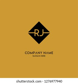 gold geometric square rj logo letter with black background design concept